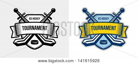 Ice hockey vector logo. Winter team sport tournament. Knight, pirate, buccaneer, warrior sword mascot. Black, white, color badge design.