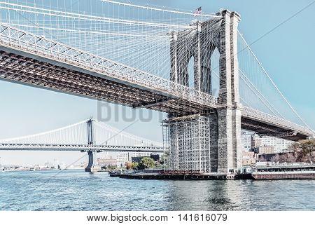 Brooklyn Bridge In New York City United States America
