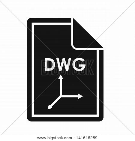 File DWG icon in simple style isolated on white background. Document type symbol