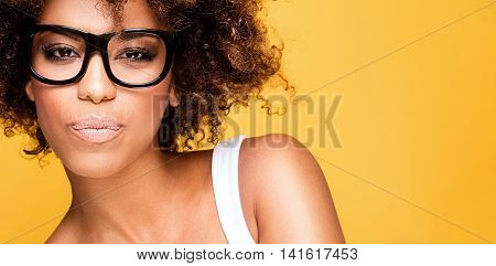 Girl With Afro Wearing Eyeglasses, Portrait.