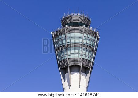 Indianapolis - Circa August 2016: The Air Traffic Control Tower at Indianapolis International Airport I