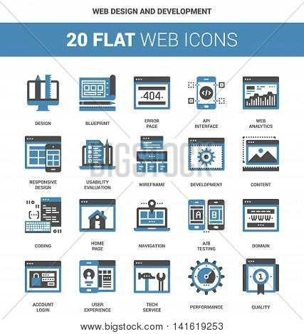 Vector set of web design and development flat web icons. Each icon neatly designed on pixel perfect 64X64 size grid. Fully editable and easy to use.