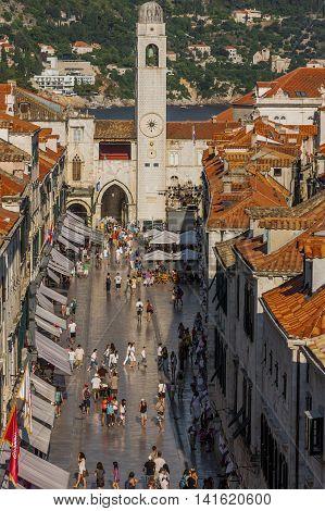 Aerial View Of Historical Buildings And People In Dubrovnik, Croatia
