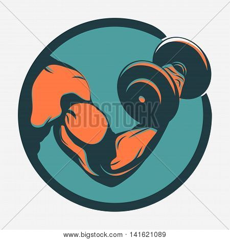 Bodybuilder with dumbbell. Biceps Flex arm gym sign. Weightlifter athlete vector emblem, sport print