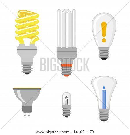 Cartoon lamps electric and bright cartoon interior light tool flat vector. Cartoon different lamps light bulb electricity design flat vector illustration. Vector light bulbs lamp creative idea concept