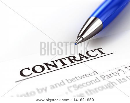 Signing a contract concept - Blue pen and contract paper. 3d illustration