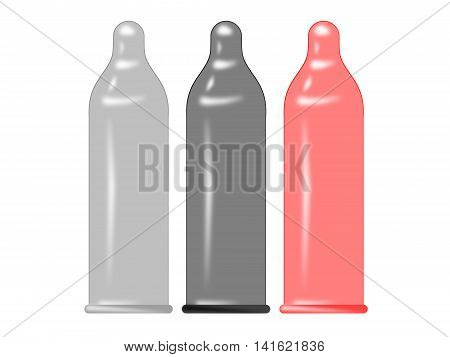 The color condoms on a white background