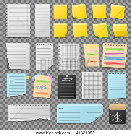 Stickers and notes, paper sheet sticky note isolated on white background vector illustration. Message office paper notes. Different note sheet sticky business paper blank note paper. Adhesive notice
