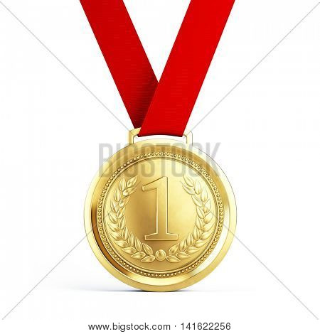 First place Gold medal with red ribbon isolated on white background - 3d illustration