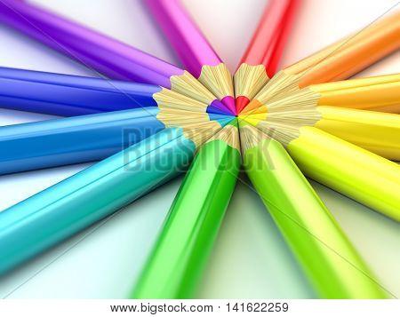 Color pencils on white background. 3d illustration