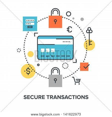 Vector illustration of secure transaction flat line design concept. poster