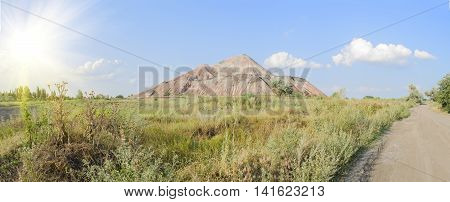 waste heap landscape on Donbass in a sunny day