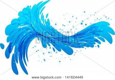 Water splash blue wave on white background