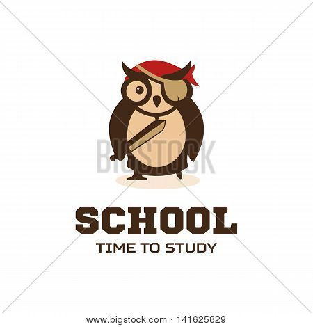 Isolated wise owl with eye patch and pointer with writing vector logo. School element logotype. Cartoon character illustration. Teacher symbol.