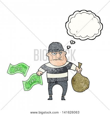freehand drawn thought bubble textured cartoon bank robber