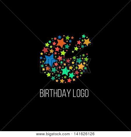 Isolated round shape birthday cake with stars vector logo. Holiday element. Pizza logotype. Delicious food illustration. Cafe and restaurant emblem