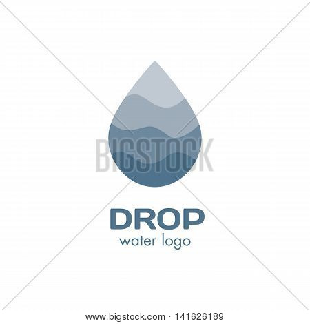 Isolated abstract blue color waterdrop vector logo. Water logotype. Liquid illustration. Fresh drink sign. Sea, ocean, river element