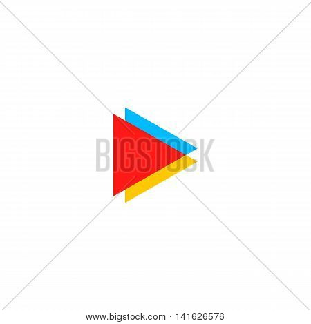 Isolated colorful play button vector logo. Triangular multimedia logotype. Pause icon. Player element