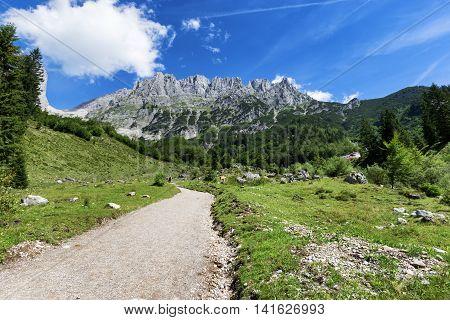 Path through summer mountain landscape. View of Wilder Kaiser Austria Tyrol