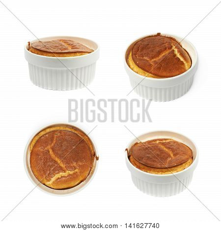 Cheese souffle in a white ceramic ramekin, composition isolated over the white background, set of four different foreshortenings