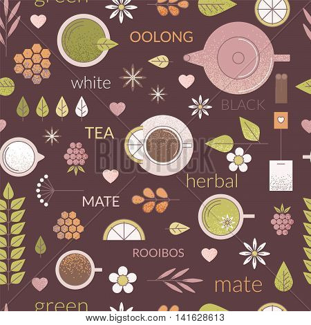 Vector line seamless pattern with different types of tea like black oolong green and white tea. Dark brown background cups teapot and other ingredients of tea ceremony