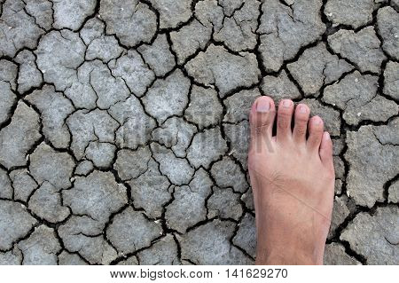 Foot walking droughts ground, Foot on droughts ground,