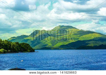 Beautiful landscape at Loch Lomond lake in Luss Argyll&Bute in Scotland UK