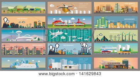 City Landscape and industry web banners set. Vector illustration