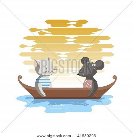 The illustration. The cat and the mouse sit in the evening in a boat on a lake against the setting sun.
