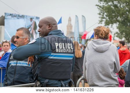 French Municipal Police Monitoring The Public