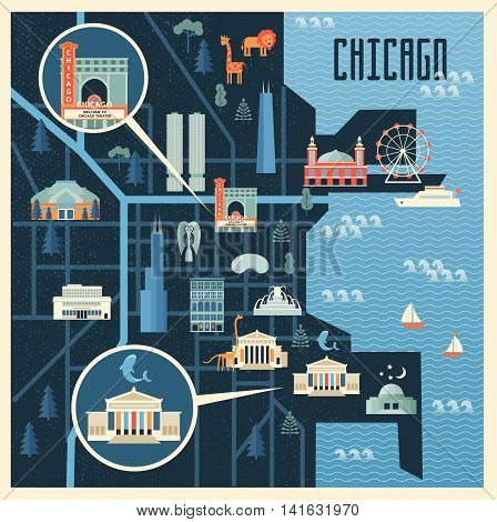 Vector illustration of map with landmarks of Chicago. Famous places historical buildings sightseeing and known museums. Flat style. poster
