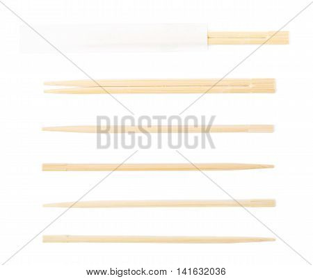 Wooden sushi chopsticks isolated over the white background, set of six different foreshortenings