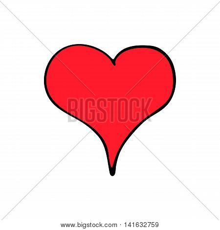 Red hart isolated on white background in style hand draw