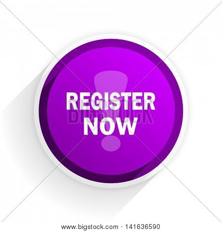 register now flat icon