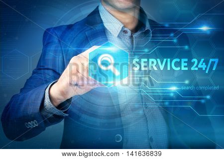Business, Internet, Technology Concept.businessman Chooses Service 24/7 Button On A Touch Screen Int