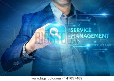 Business, Internet, Technology Concept.businessman Chooses Service Management Button On A Touch Scre