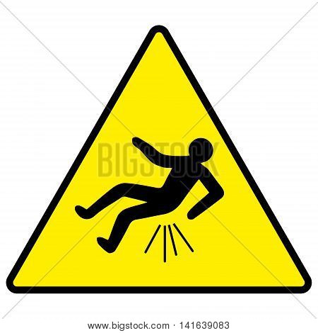 caution you can fall Butthurt, yellow sign with falling man, trauma, vector illustration for print or website design