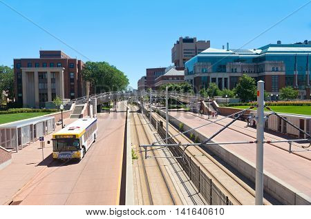 MINNEAPOLIS, MINNESOTA/USA - JULY 29, 2016: Washington Avenue Mall at University of Minnesota along the Green Line. Washington Avenue connects the East Bank and West Bank crossing the Mississippi River.