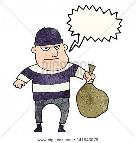 freehand speech bubble textured cartoon burglar with loot bag
