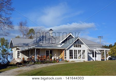 New Zealand Traditional Wooden Farm House in Geraldine South Canterbury.