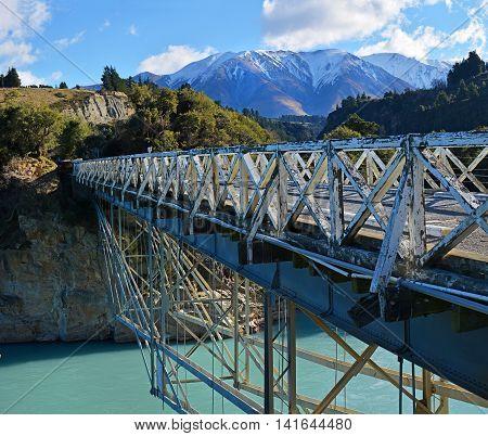 Historic Rakaia Gorge Wooden Bridge crossing the Rakaia River in Mid Canterbury New Zealand