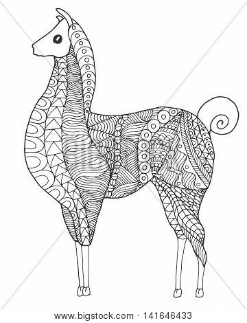 Cute lama. Black white hand drawn doodle animal. Ethnic patterned vector illustration. African indian totem tribal zentangle design. Sketch for coloring page tattoo poster print t-shirt