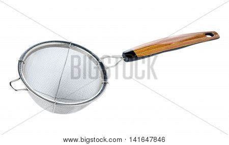 Metal sieve a wood handle isolated on white background