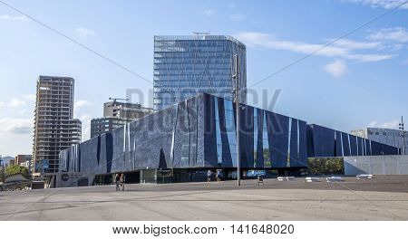 BARCELONA SPAIN - JULY 12 2016: The Blue Museum of Natural Sciences (Museu Blau). It is an architectural landmark in Barcelona designed by the Swiss architects Jacques Herzog and Pierre de Meuron.