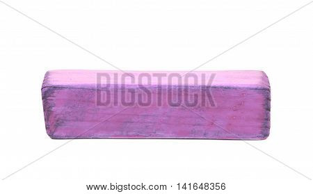 Hyphen dash symbol sawn of wood and paint coated, isolated over the white background