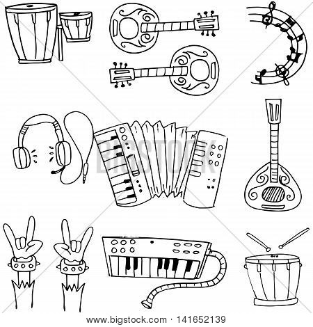 Music object doodles stock collection vector illustration