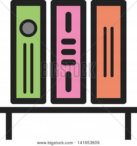 Library, bookshelf, college icon vector image. Can also be used for schooling. Suitable for use on web apps, mobile apps and print media.