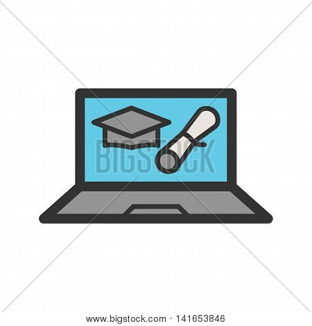 Degree, online, university icon vector image. Can also be used for schooling. Suitable for use on web apps, mobile apps and print media.