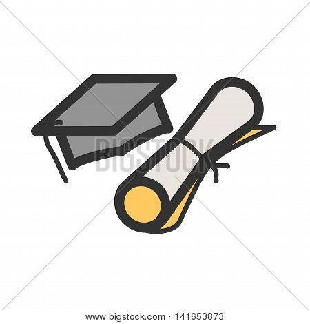 Graduation, cap, students icon vector image. Can also be used for schooling. Suitable for use on web apps, mobile apps and print media.