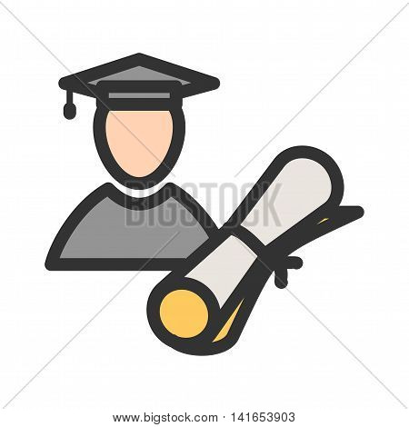 Graduate, male, university icon vector image. Can also be used for schooling. Suitable for use on web apps, mobile apps and print media.